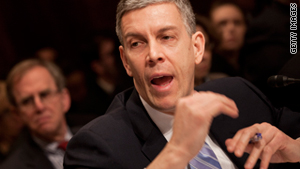 Education Secretary Arne Duncan speaks at the Senate Budget Committee in Washington on Tuesday.