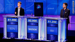 "Watson the supercomputer challenges Ken Jennings, left, and Brad Rutter last month on ""Jeopardy!"""