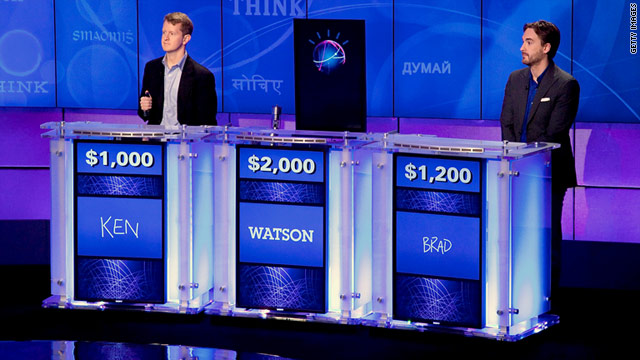 "Watson, the IBM-developed supercomputer, challenges Ken Jennings, left, and Brad Rutter  to ""Jeopardy!"" in January."