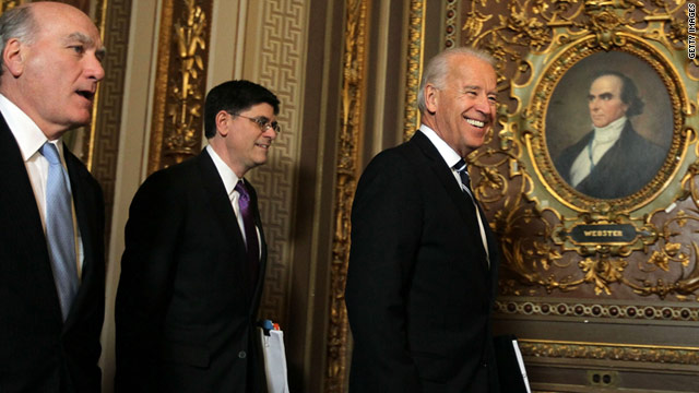 Vice President Joe Biden arrives at Capitol Hill with budget director Jacob Lew, center, and Chief of Staff William Daley.