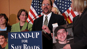 Jerry Assa, who lost his son Brian, spoke in favor of the safe driving act on Capitol Hill on Tuesday.