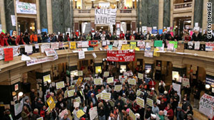 A Smithsonian curator is traveling to Madison, Wisconsin, to document protests over proposed legislation there.