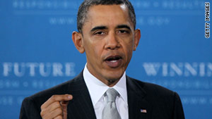 """President Obama tells an audience at a Virginia school on Monday that """"No Child Left Behind"""" needs fixing."""