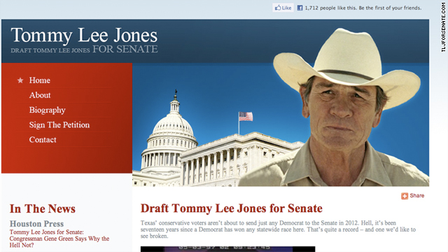 A Texas man has started a campaign for actor Tommy Lee Jones to run for Senate.