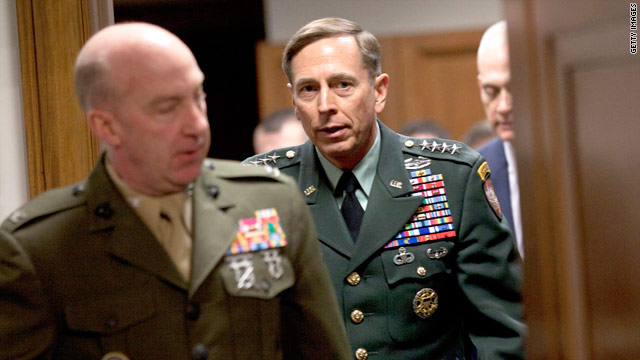 Gen. David Petraeus arrives to speak to the Senate Armed Services Committee on Tuesday.