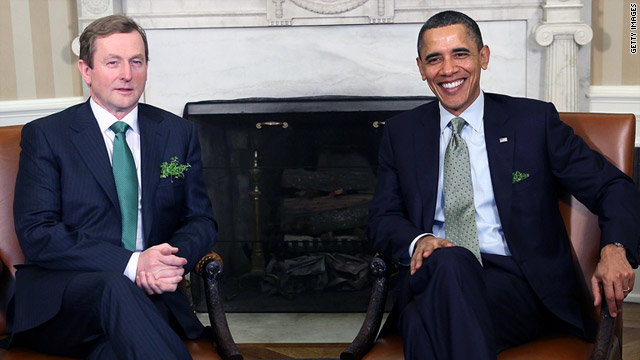 President Obama said during a visit with Prime Minister Enda Kenny that he hopes to visit an ancestor?s birthplace in Ireland.