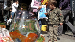 An Iranian boy looks at goldfish for sale ahead of celebrations in Tehran for the Persian New Year on Sunday.