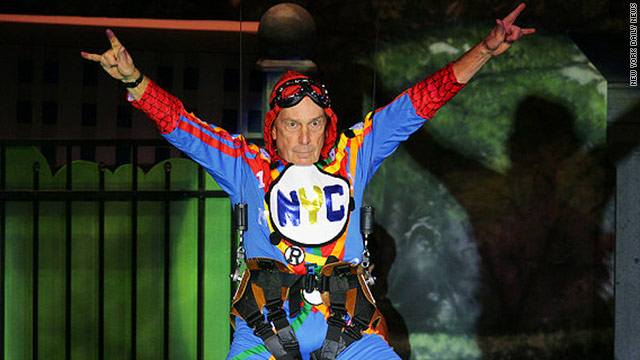 New York City Mayor Michael Bloomberg donned Broadway attire for charity.