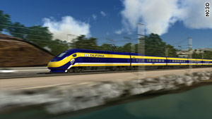 An artist's rendition of a high-speed train in California -- one of several states participating in the federal funding program.