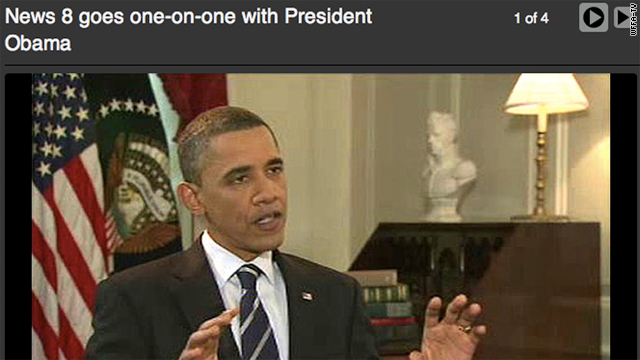 President Barack Obama faces a grilling from a Dallas TV reporter Monday.