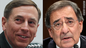 Gen. David Petraeus, left, has led the forces in Afghanistan. Leon Panetta will be moving from CIA director.
