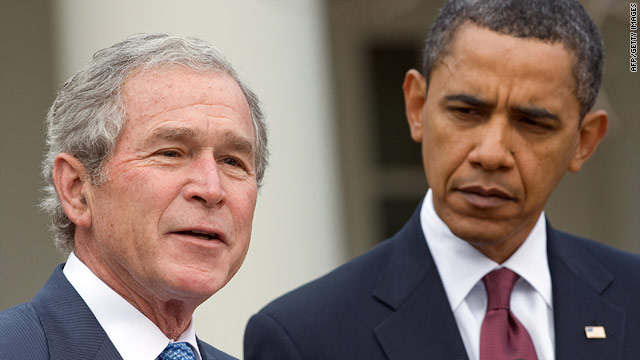 Ex-President George W. Bush, with President Barack Obama in January 2010, has preferred to stay out of the spotlight.