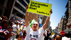 Hundreds rally in Los Angeles, California, on May 1, 2011.