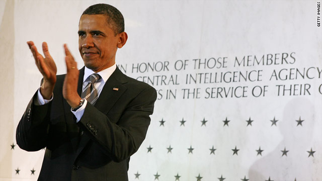 President Obama on Friday applauds CIA employees for their work in tracking down Osama bin Laden.