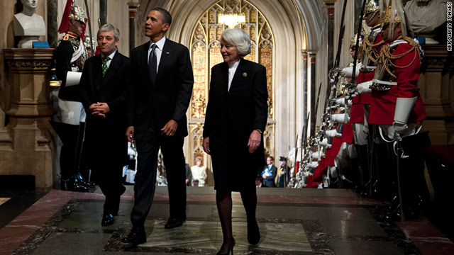 U.S. President Barack Obama arrives at Westminster Hall for a rare address to Britain's parliament.