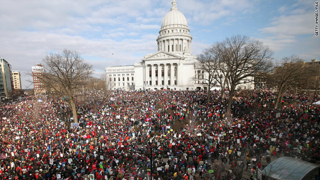 Demonstrators gather outside the Wisconsin Capitol in March to protest a bill that sharply restricts collective bargaining rights.
