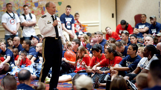 U.S. Army Chief of Staff Gen. Martin Dempsey meets with kids who have lost a relative in military service.