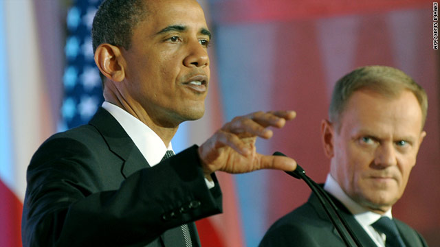 President Obama, left, speaks to the press with Polish Prime Minister Donald Tusk.