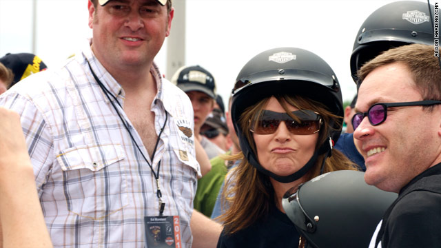 Sarah Palin takes part in the Rolling Thunder motorcycle rally on Sunday in Washington.