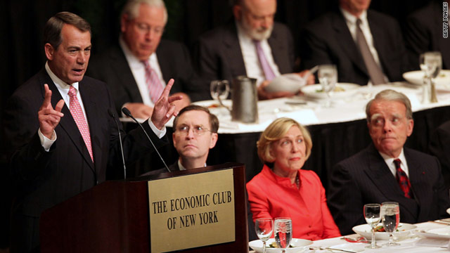 House Speaker John Boehner, R-Ohio, spoke to the Economic Club of New York earlier this month, demanding spending cuts.