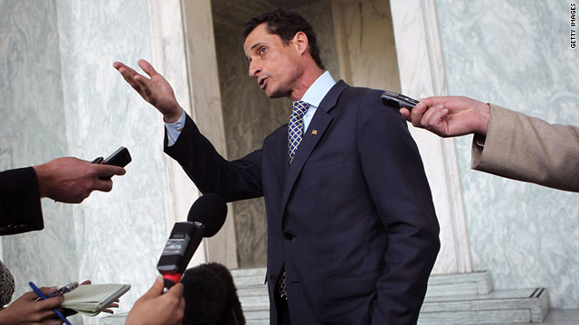 Rep. Anthony Weiner, D-New York, speaks to the media regarding a lewd photo tweet May 31 on Capitol Hill.