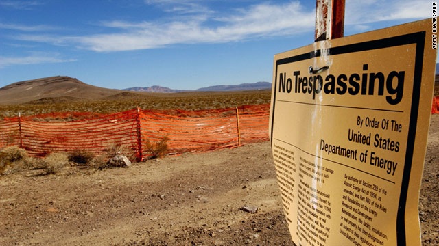 "A ""no trespassing"" sign warns people to stay out of the Yucca Mountain, the proposed site to store nuclear waste."