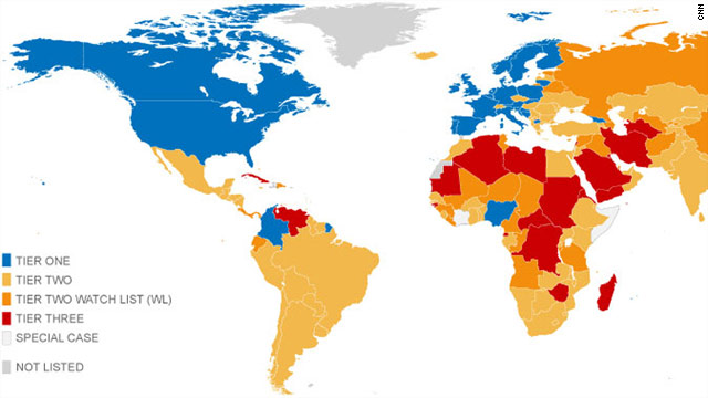 Human Trafficking Slavery Map