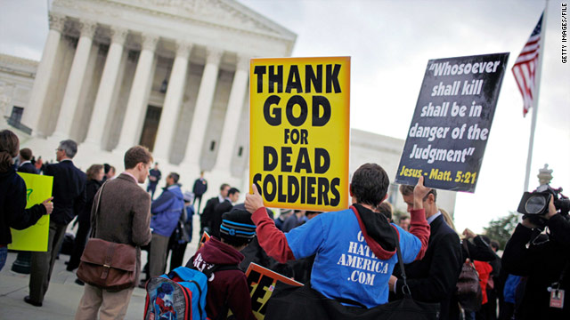 Westboro Baptist Church, known for controversial protesting, demonstrates outside the U.S. Supreme Court in March.