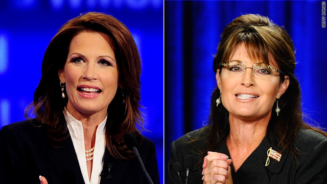 Michele Bachmann, left has entered the race for president, while former Alaska Gov. Sarah Palin has stayed on the sidelines.