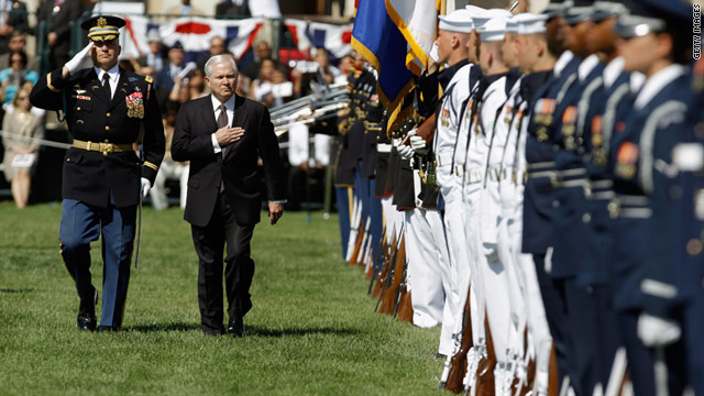 Each of the armed services sent an honor guard unit and flag bearers to salute the outgoing defense secretary.