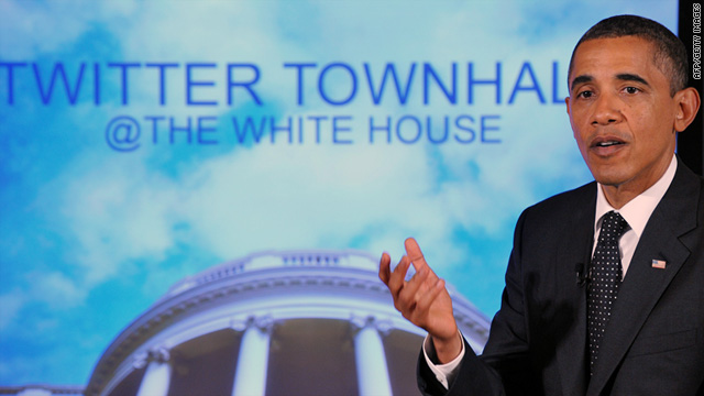 President Obama speaks during a Twitter town hall meeting, where he answered questions sent through Twitter.