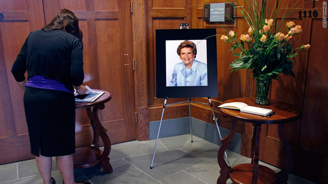 A memorial is set up for former first lady Betty Ford, who died at age 93, at the University of Michigan campus.