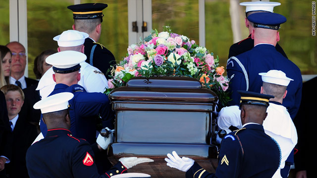 The casket holding Betty Ford's remains are carried by an honor guard in California, on Tuesday, for the service.