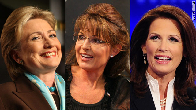 Some ex-supporters of Hillary Clinton, left, say they'll back Sarah Palin, center, or Michele Bachmann to get a female president.