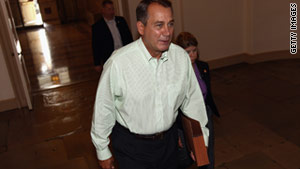 House Speaker John Boehner arrives at the Capitol on Sunday.