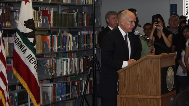 California Gov. Jerry Brown speaks at the signing ceremony at Los Angeles Community College on Monday.