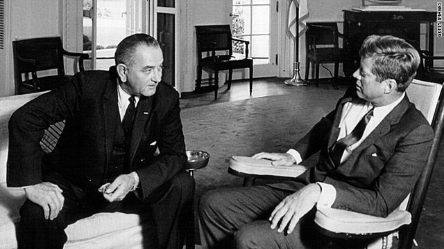 John Kennedy, right, shown with Lyndon Johnson, recognized gumption was rare in midcentury Washington, Shapiro says.