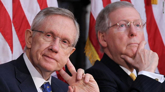 "Democratic leader Sen. Harry Reid, left, and GOP leader Sen. Mitch McConnell have a ""congenial working relationship."""