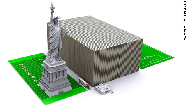 Stacked next to a house, a football field and the Statue of Liberty, the national debt, in $100 bills, would look something like this.