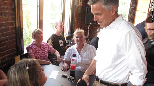 Presidential candidate Jon Huntsman speaks August 4 to members of the Derry, New Hampshire, GOP committee.