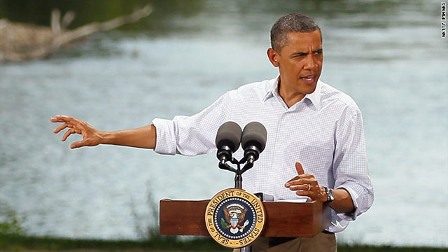 President Obama speaks at a town hall-style meeting Monday at Lower Hannah's Bend Park in Cannon Falls, Minnesota.