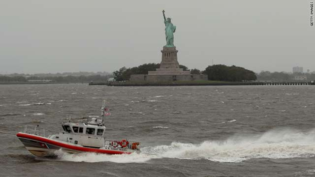 A U.S. Coast Guard boat patrols the choppy waters off  Liberty Island hours after Hurricane Irene blew through Sunday.