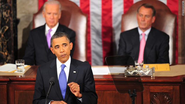 President Obama, with Vice President Biden and House Speaker John Boehner behind him, speaks to Congress.