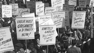 Workers protest in New York in 1946 against President Harry Truman's threat to draft striking workers into the military.