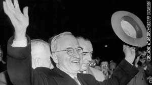 Truman surprised pollsters and pundits when he defeated Republican Thomas Dewey in 1948.