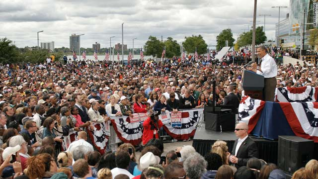 President Barack Obama rallies union supporters outside General Motors headquarters in Detroit on Labor Day.