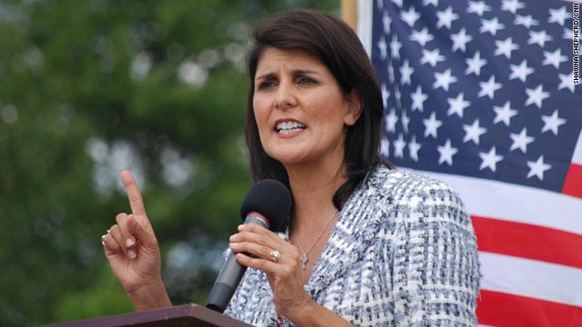 South Carolina Gov. Nikki Haley, here at a recent Greenville rally, backed, then voted against an HPV vaccine bill as a legislator.