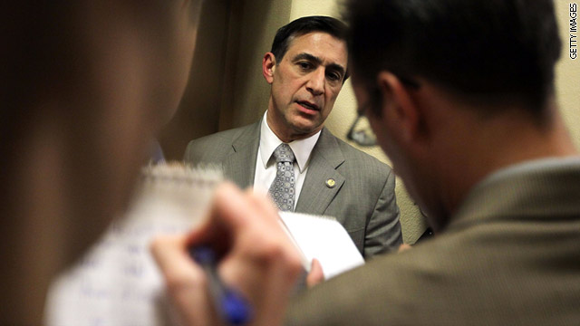 Rep. Darrell Issa, R-California, speaks to reporters on Capitol Hill in April.