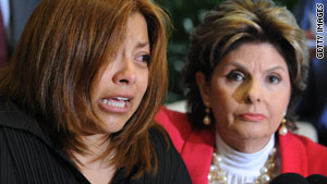 Nicandra Diaz Santillan meets the press with her lawyer, Gloria Allred, by her side.