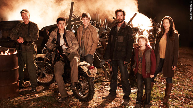 "Noah Wyle, third from right, stars as part of a surviving Massachusetts community in ""Falling Skies."""